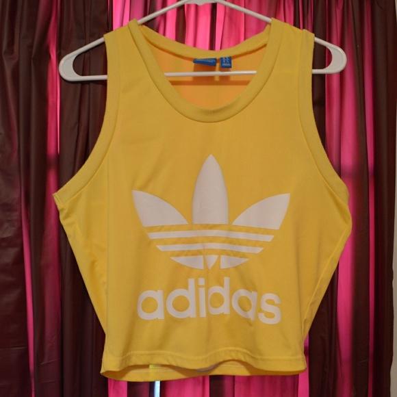 9b3f6107f8d9e adidas Tops - Yellow Adidas Crop Top